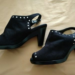 Aerosoles Black Studded Platform Open-toed Heels